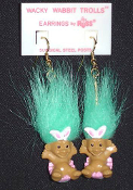 Mini collectible TROLL DOLL WACKY WABBIT Easter Bunny EARRINGS - Punk funky retro Russ Berrie little retired spring holiday novelty costume jewelry - AQUA Hair - Miniature vintage cute lucky charm gnome rabbit trolls sitting in decorated egg.