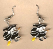 WITCH on Broomstick EARRINGS - Halloween Enamel Charm Jewelry