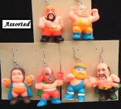 Huge, Chunky WRESTLER EARRINGS - WWE / WECW / WWF - Punk Wrestling Jewelry - 1-Pair, chosen from assorted selection, as shown.