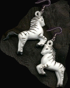 "HUGE Vintage Toy ZEBRA EARRINGS - Zoo Vet, Noah's Ark, Wild Animal, Safari Jungle Charm Jewelry - Big detailed, dimensional hollow Plastic striped Zebras charms, approx. 2"" Tall. Simply BLACK and WHITE. Show your STRIPES!"