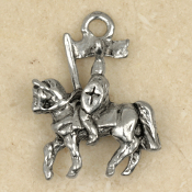 KNIGHT on HORSE PENDANT NECKLACE-Prince Charm Medieval Jewelry