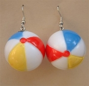 Big BEACH BALLS EARRINGS - Summer Swimming Pool Party Swimmer Charm Jewelry