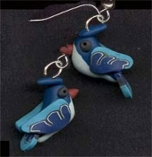 Mini Clay BLUEJAY BIRD EARRINGS - Springtime Garden Animal Jewelry