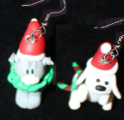 CHRISTMAS KITTY CAT and PUPPY DOG EARRINGS - Pet Xmas Kitten Veterinarian Charm Jewelry