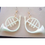 Large Pearl White FRENCH HORN EARRINGS - Musical Instrument Jewelry