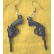 Funky GUNS PISTOLS VINTAGE EARRINGS - Punk Western Jewelry -BLACK