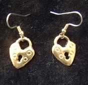 Gold-tone HEART LOCK EARRINGS - Mini Pewter Metal Charm Jewelry
