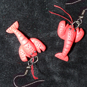 Mini LOBSTER EARRINGS - Cute Clay Crustacean Deep Sea Fishing Restaurant Food Jewelry