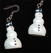 Dimensional SNOWMAN EARRINGS -E- Pearlescent Christmas Charm Jewelry