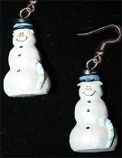 Dimensional SNOWMAN EARRINGS -H- Pearlescent Christmas Charm Jewelry