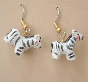 Cute Mini Figure Funky ZEBRA EARRINGS - Zoo Vet Noah's Ark Jungle Safari Zebras Stripes Charm Novelty Animal Print Costume Jewelry - Detailed, Miniature Dimensional Resin hand-painted black and white striped charms, approx. 5/8-inch (1.56cm) Tall.