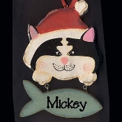 CAT WOOD ORNAMENT - Personalized LARGE WALL SIGN PLAQUE - Pet Christmas Gift - (SPECIFY NAME)
