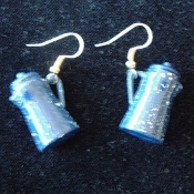 Mini Blue Speckle COFFEE POT - Retro Enamel Metal Farm Charm Earrings