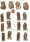 SANTA MINIATURE ORNAMENT SET - Vintage Embossed Paper Scrapbook Embellishments -18-pc LOT