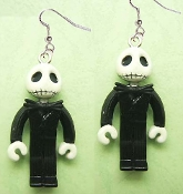 Funky LEGO-style JACK SKELLINGTON DANGLE EARRINGS - Nightmare Before Christmas Theme - Gothic Halloween Zombie Costume Jewelry. Punk Cosplay Skeleton Skull Pirate Headhunter Witch Doctor Charm Accessory. Rubbery Plastic Dimensional Toy Mini Figures.