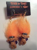 Mini collectible TROLL DOLL SUPER-HERO BANDIT ROBBER EARRINGS with MASK and CAPE - Punk funky retro Russ Berrie little TRICK-or-TROLL retired novelty costume jewelry - ORANGE Hair - Miniature gothic vintage Halloween lucky charm gnome trolls.