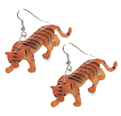 "HUGE Wild Cat TIGER TOY EARRINGS - Mini Jungle Safari Zoo Circus Animal Novelty Charm Costume Jewelry - Large plastic miniature realistic dimensional detailed jungle king figure, approx 1-1/8"" tall x 2-1/2"" long."