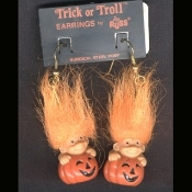 Funky Mini Retro TROLL JACK-O-LANTERN EARRINGS - Cute Vintage Halloween Decorated Imp Pumpkin Charm - Russ Berrie Retired Collectible Trick-or-Troll Novelty Costume Jewelry - ORANGE Hair - Mini fall holiday gnome troll.