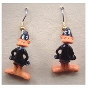 Funky Mini Figure DAFFY DUCK EARRINGS - Bugs Bunny Friend Looney Tunes Novelty Costume Jewelry - Favorite funny classic cartoon comics character animal theme dangle charm fully dimensional figurine.