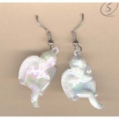 CUPID CHERUB EARRINGS - Baby ANGEL Love Charm Jewelry - DREAMER - Iridescent White Faux Pearl Acrylic Plastic Charm, approx. 1-inch diameter.