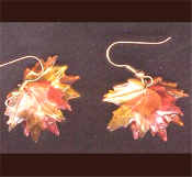 MAPLE LEAF - LEAVES EARRINGS - Fall Autumn Tree THANKSGIVING Jewelry. Fall Color Maple Leaves...