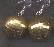 Funky HUGE DISCO BALL EARRINGS - Orange GOLD - Large Novelty Dance Club Party Retro DJ Disco Costume Jewelry BIG Metallic Hollow Plastic sphere charm, 1.5-inch (3.75cm) diameter balls. Star, Empire, Dancing with the Stars, Saturday Night Fever fans!