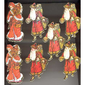 SANTA ORNAMENT LOT - Vintage -style Victorian Embossed Paper Scrapbook Embellishments -7-pc LOT -A