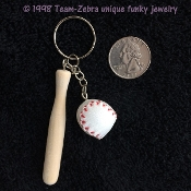 Big Realistic BASEBALL and BAT KEYCHAIN - SOFTBALL Coach Sports Team Charm Costume Jewelry - Detailed vinyl Leather-like (Pleather?) 3-D Genuine-look Ball and Wood BASEBALL BAT on Key Chain with Ring. Take me out to the Ball Game !!!