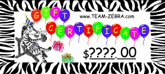 Too many choices? A TEAM-ZEBRA gift certificate is the perfect solution! Let your recipient choose from hundreds of unique funky earrings and costume jewelry selections in our online store! Great to present as teacher, coach, student and player awards. They are also perfect extra holiday gift add-ons, as well as Secret Santa! Larger certificate dollar amounts allow your chosen giftee to have a single shopping spree, or multiply the fun over several smaller purchases, making your gift last even longer!